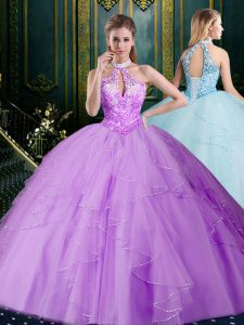 Lavender Halter Top Lace Up Beading and Lace and Ruffles Vestidos de Quinceanera Sleeveless
