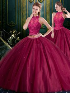 Charming Sleeveless Lace Up Floor Length Beading and Lace 15th Birthday Dress