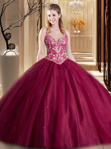 Fashionable Burgundy Sleeveless Floor Length Beading and Lace and Appliques Lace Up 15 Quinceanera Dress
