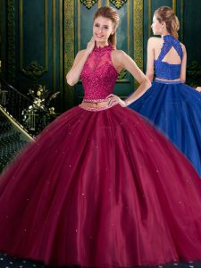 Halter Top Tulle High-neck Sleeveless Lace Up Appliques 15th Birthday Dress in Burgundy