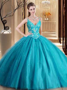 Hot Sale Floor Length Teal Quinceanera Dress Spaghetti Straps Sleeveless Lace Up