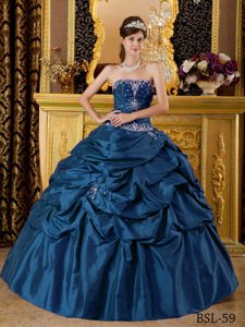 Blue Taffeta Lace-up Gorgeous Sweet 15 Dresses with Appliques under 250