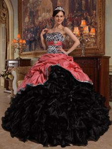 Pink and Black Strapless Ruffled Quinceanera Dress with Pick-ups and Zebra on Sale