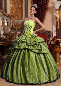Olive Green Strapless Taffeta Ball Gown Quinceanera Dress with Pick-ups and Flower