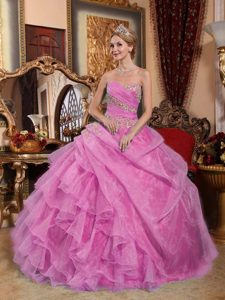 Rose Pink Sweetheart Layered Organza Sweet 16 Dress with Pick-ups and Appliques