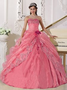 Rose Pink Sweetheart Organza Drapped Appliqued Quinceanera Dresses with Flower
