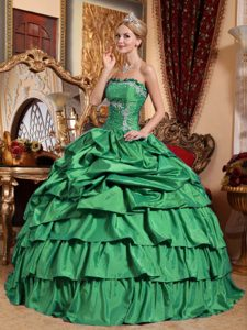 Strapless Green Layered Taffeta Dress for Quinceanera with Appliques and Pick-ups