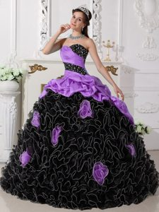 Latest Sweetheart Purple and Black Ruffled Beaded Quinceanera Dress with Pick-ups