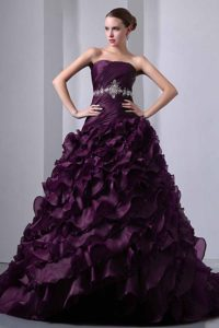 Ruched Strapless Dark Purple Organza Quinceanera Dress with Ruffles and Appliques
