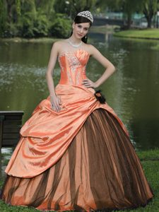 Chichi Strapless Orange Taffeta Dress for Quinceanera with Pick-ups and Appliques