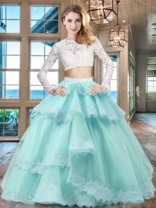 Noble Scoop Long Sleeves Tulle and Lace Sweet 16 Quinceanera Dress Beading and Lace and Ruffled Layers Zipper