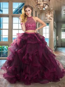 Custom Design Halter Top Sleeveless Brush Train Backless Quinceanera Dresses Dark Purple Tulle