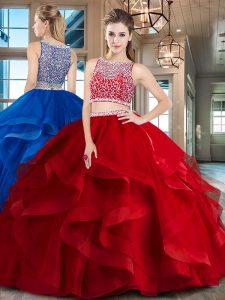 Excellent Floor Length Red Sweet 16 Quinceanera Dress Bateau Sleeveless Side Zipper