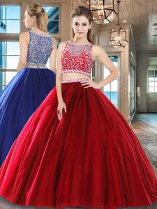 Beading Quinceanera Dress Wine Red Side Zipper Sleeveless Floor Length