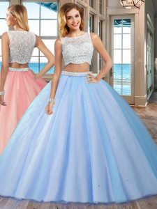 Great Floor Length Side Zipper Ball Gown Prom Dress Blue for Military Ball and Sweet 16 and Quinceanera with Beading