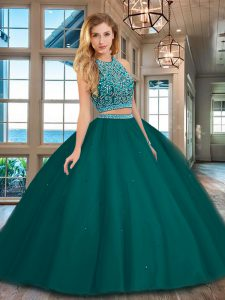 Dark Green Vestidos de Quinceanera Military Ball and Sweet 16 and Quinceanera with Beading Scoop Sleeveless Backless