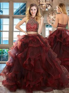 Spectacular Halter Top Two Pieces Sleeveless Burgundy Sweet 16 Dress Brush Train Backless