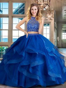 Halter Top Royal Blue Tulle Backless Quinceanera Dresses Sleeveless Brush Train Beading and Ruffles