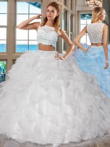 24a83996056 White Two Pieces Organza Bateau Sleeveless Beading and Ruffles Floor Length  Side Zipper Quinceanera Gown