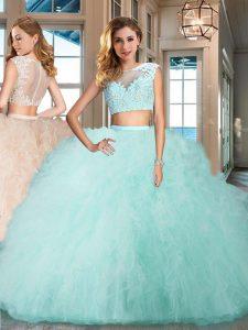 Floor Length Aqua Blue Ball Gown Prom Dress Bateau Cap Sleeves Zipper