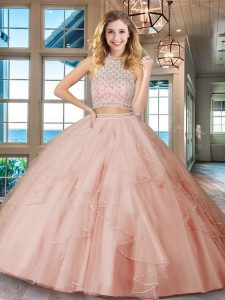 Halter Top Sleeveless Floor Length Beading and Ruffles Backless Vestidos de Quinceanera with Pink