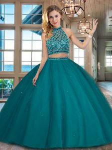 Best Selling Two Pieces Sweet 16 Dresses Teal Halter Top Tulle Sleeveless Floor Length Backless