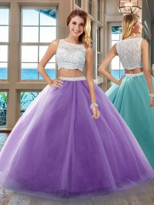Beautiful Bateau Sleeveless Sweet 16 Dress Floor Length Beading Purple Tulle