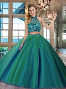 Nice Halter Top Dark Green Two Pieces Beading Quince Ball Gowns Backless Tulle Sleeveless