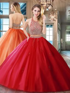 Modest Red Two Pieces Tulle Halter Top Sleeveless Beading and Appliques With Train Backless Quinceanera Gowns Brush Train