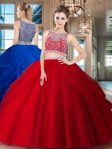 Fitting Red Tulle Side Zipper Bateau Sleeveless Floor Length Quinceanera Dress Beading and Pick Ups