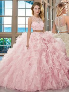 Vintage Baby Pink Scoop Neckline Beading and Ruffles Quinceanera Dresses Sleeveless Zipper