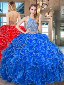 Halter Top Ruffled Royal Blue Sleeveless Organza Backless Quinceanera Dress for Military Ball and Sweet 16 and Quinceanera