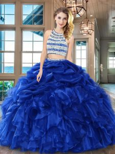Royal Blue Backless Scoop Beading and Ruffles and Pick Ups Sweet 16 Dresses Organza Sleeveless