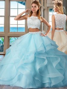 Sleeveless Beading and Ruffles Side Zipper Quinceanera Dress