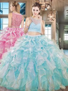 Aqua Blue Two Pieces Beading and Ruffles Ball Gown Prom Dress Side Zipper Organza Sleeveless Floor Length