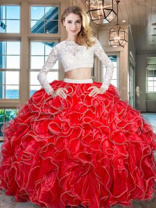 Red Scoop Neckline Beading and Lace and Ruffles 15th Birthday Dress Long Sleeves Zipper