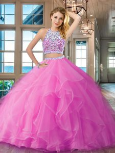 Perfect Floor Length Lilac Sweet 16 Dress Scoop Sleeveless Backless