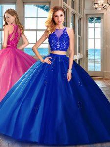 Floor Length Royal Blue Sweet 16 Dress Scoop Sleeveless Zipper