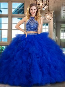 Halter Top Backless Tulle Sleeveless Ball Gown Prom Dress Brush Train and Beading and Ruffles