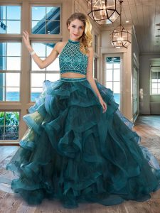 Sumptuous Teal 15th Birthday Dress Halter Top Sleeveless Brush Train Backless