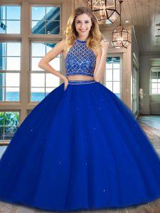Halter Top Sleeveless Tulle Sweet 16 Dress Beading Backless