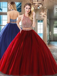 Wine Red Two Pieces Halter Top Sleeveless Tulle Floor Length Backless Beading Ball Gown Prom Dress