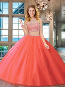 Fashion Watermelon Red Scoop Backless Beading Quinceanera Gowns Sleeveless