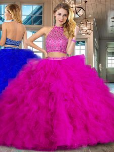 Graceful Halter Top Fuchsia Two Pieces Beading and Ruffles Quinceanera Gowns Backless Tulle Sleeveless