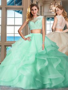 Fantastic Apple Green Tulle Zipper Bateau Cap Sleeves Floor Length Quinceanera Gown Appliques and Ruffles