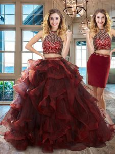 Halter Top Burgundy Two Pieces Beading and Ruffles Quinceanera Dress Backless Tulle Sleeveless