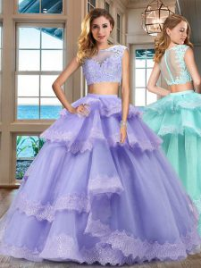 Lavender Two Pieces Tulle Bateau Cap Sleeves Lace and Appliques and Ruffled Layers Floor Length Zipper Quinceanera Dresses