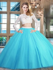 Scoop Long Sleeves Beading and Lace Zipper 15 Quinceanera Dress