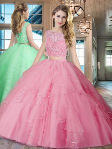 Custom Fit Rose Pink Tulle Lace Up Sweet 16 Dresses Sleeveless With Brush Train Lace and Ruffles