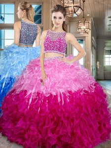 Multi-color Two Pieces Beading and Ruffles Vestidos de Quinceanera Side Zipper Organza Sleeveless Floor Length